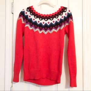 Red and White Sequin Sweater